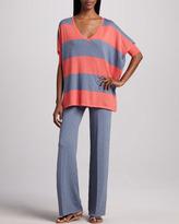 Minnie Rose Wide-Leg Stretch-Cotton Pants, Women's
