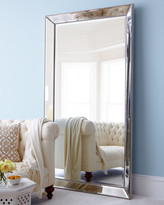 Horchow Antiqued-Silver Beaded Floor Mirror