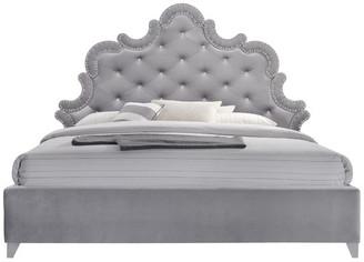 Meridian Furniture Usa Sophie Velvet King Bed, Gray