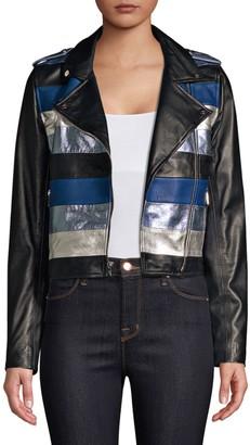 The Mighty Company Stripe Leather Moto Jacket