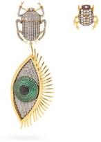 Begum Khan - Scarab Mini Me 24kt Gold-plated Clip Earrings - Womens - Green Gold