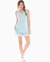 Soma Intimates Cool Nights Tank/Shorts Pajama Set Snowflake Dot Bluecrystal