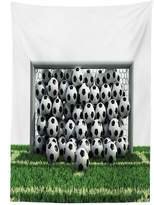 vipsung Sports Decor Tablecloth Goal Net Full of Soccer Balls on the Football Field Schoolyard Victory Dining Room Kitchen Rectangular Table Cover