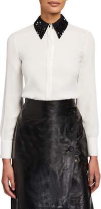 Lafayette 148 New York Julianne Matte Silk Blouse with Detachable Embellished Collar