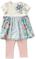 Bonnie Jean Little Girls 2T-6X Mixed-Media A-Line Dress & Striped Leggings Set
