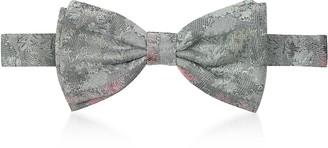 Forzieri Light Gray/Pink Jacquard Silk Pre-Tied Bow Tie