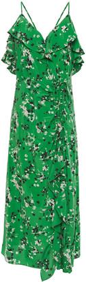 Veronica Beard Monica Asymmetric Ruffled Floral-print Stretch-silk Crepe De Chine Midi Dress