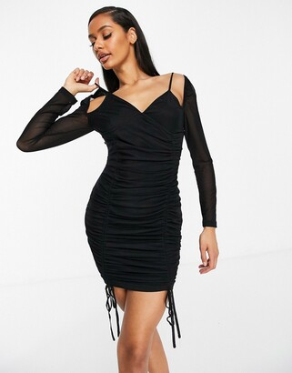 NaaNaa mesh ruched long sleeve dress in black