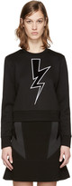 Neil Barrett Black Cropped Thunderbolt Pullover