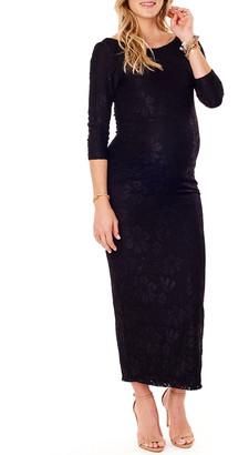 Ingrid & Isabel Maternity Stretch-Lace Boat-Neck 3/4-Sleeve Column Dress
