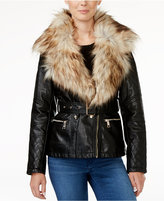GUESS Tori Faux-Fur-Trim Faux-Leather Jacket