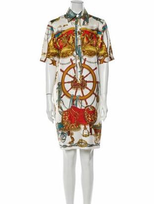 Hermes Silk Knee-Length Dress Brown