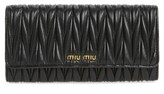Miu Miu Women's Matelasse Leather Continental Wallet - Black