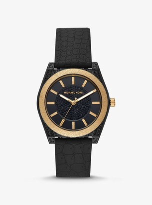 Michael Kors Channing Snake-Embossed Silicone and Gold-Tone Watch