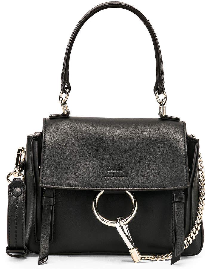 Chloé Mini Faye Calfskin & Suede Day Bag in Black | FWRD