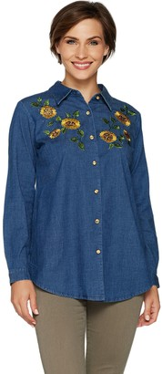 Factory Quacker Button Front Denim Tunic w/ Embellished Front Motif