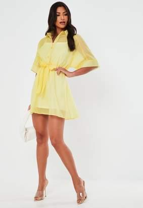 Missguided Lemon Organza Skater Shirt Dress