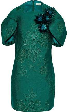 DELPOZO Floral-Appliquéd Brocade Mini Dress