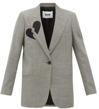 MSGM Single-breasted Broken-heart Wool-blend Blazer - Womens - Black White