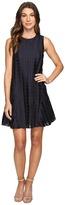 Donna Morgan Sleeveless Dot Burnout Jacquard Sleeveless Trapeze Dress Women's Dress