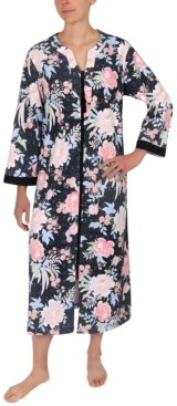 Miss Elaine Floral-Print Long Zip Front Robe