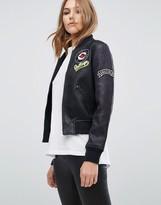MANGO Badge Detail Bomber Jacket Luxe