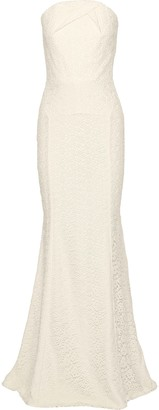 Roland Mouret Strapless Cotton Guipure Lace Bridal Gown