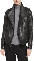 Vince Leather Asymmetric Moto Jacket, Black