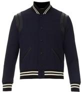Saint Laurent Leather-trim wool varsity jacket