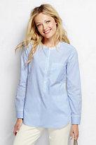 Lands' End Women's Cotton Tunic Top-Coastal Cobalt Windowpane