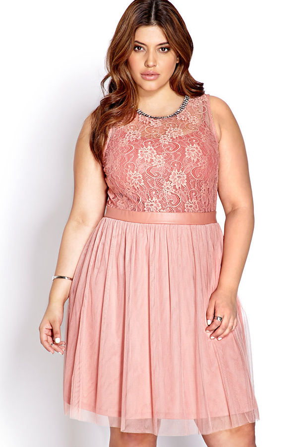 Forever 21 FOREVER 21+ Party Hour Lace & Tulle Dress