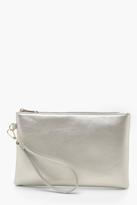 boohoo Metallic Smooth Pu Zip Top Clutch Bag