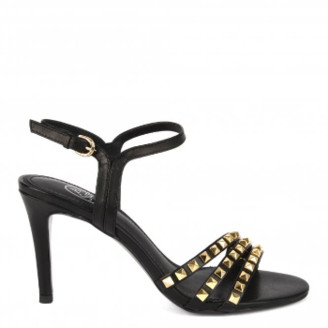 Ash Hello Black Leather Studded Heeled Sandals - 37 - Leather /Gold/Black