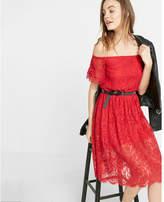 Express off the shoulder smocked lace dress