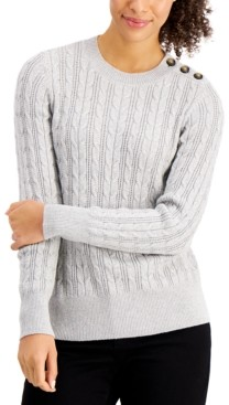 Charter Club Button-Shoulder Cable-Knit Sweater, Created for Macy's