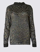Per Una Leopard Devore Button Sleeve Blouse