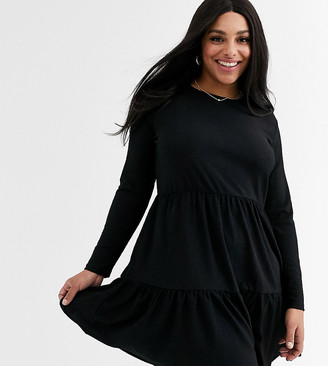 New Look Plus Curve tiered smock dress in black