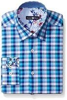 Stone Rose Men's Dobby Check Long Sleeve Button Down Shirt
