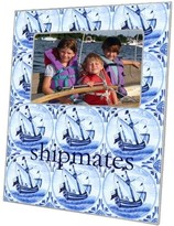 The Well Appointed House Delft Blue Sailboat Decoupage Photo Frame-Can Be Personalized