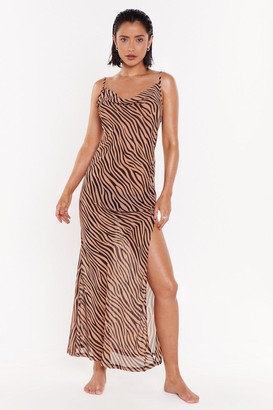 Nasty Gal Womens Herd It All Before Zebra Cover-Up Dress - brown - 6
