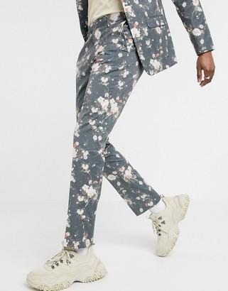 ASOS DESIGN skinny suit pants in navy floral print