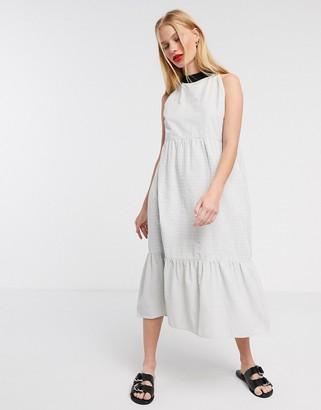 NATIVE YOUTH midi halterneck dress in stripe