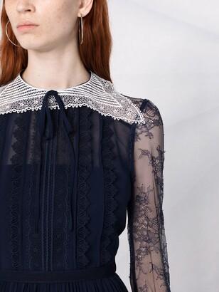 Self-Portrait Pleated Lace-Panelled Midi Dress