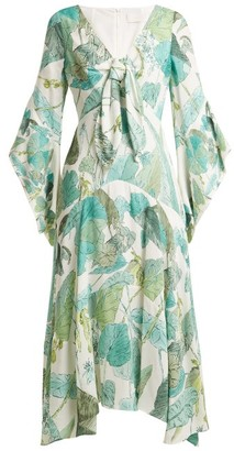 Peter Pilotto Leaf Print Tie Front Crepe Dress - Womens - Green Multi