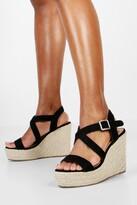 boohoo Wide Fit Cross Strap Wedge Heels