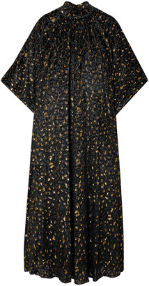 Reem Acra Metallic Fil Coupe Chiffon Midi Dress