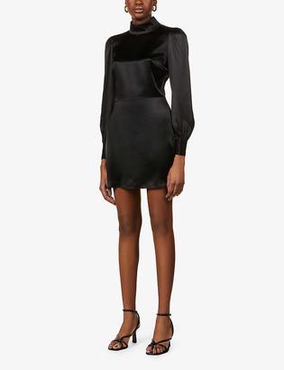 Reformation Kim backless silk-satin mini dress