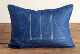 The Well Appointed House Atlantic Schooner Blueprint Pillow