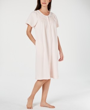 Miss Elaine Flower-Embroidery Waffle-Knit Gripper Robe