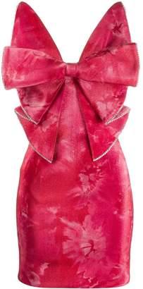 Area crushed velvet bow mini dress
